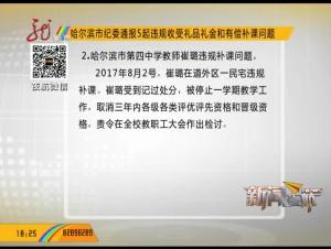 哈尔滨市纪委通报5起违规收受礼品礼金和有偿补课问题
