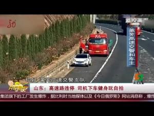 山东:高速路违停 司机下车健身玩自拍