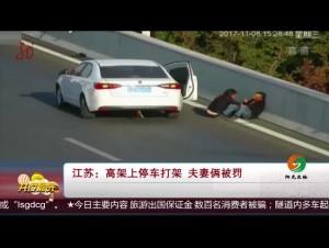 江苏:高架上停车打架 夫妻俩被罚