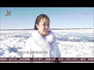 """黑龙江上冬泳爱好者与""""冰排""""共游"""