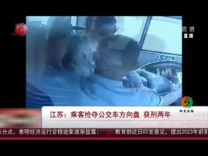 江苏:乘客抢夺公交车方向盘获刑两年