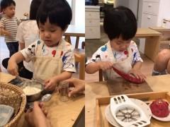 李易2岁儿子学做蛋糕 见爸爸靠近忙保护作品