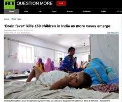印度150名儿童因患脑炎死亡 另有400余儿童住院