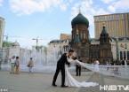 天热好乘凉 哈尔滨索菲亚教堂广场喷泉准时开启成景点