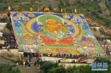 西藏:哲蚌寺展佛 雪顿节开幕