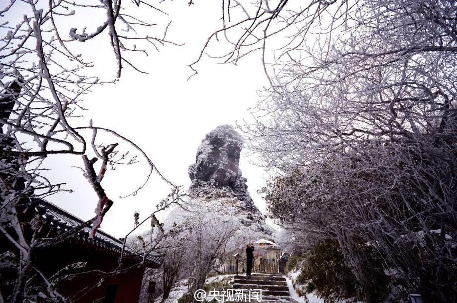 贵州梵净山现雾凇美景 宛如仙境