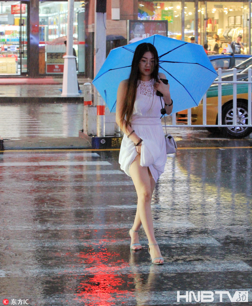哈尔滨大雨瓢泼 行人撑伞匆匆赶路(组图)