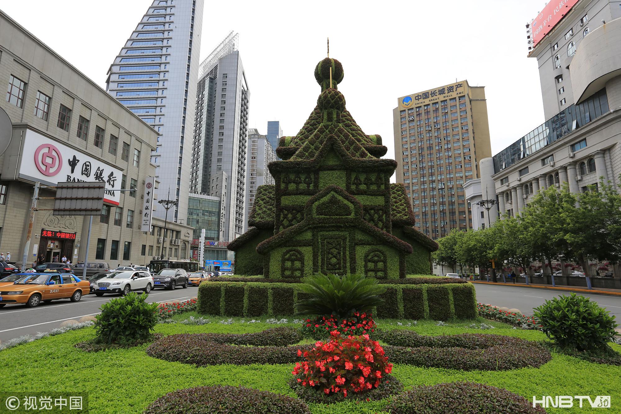 哈尔滨绿色教堂亮相街头(组图)