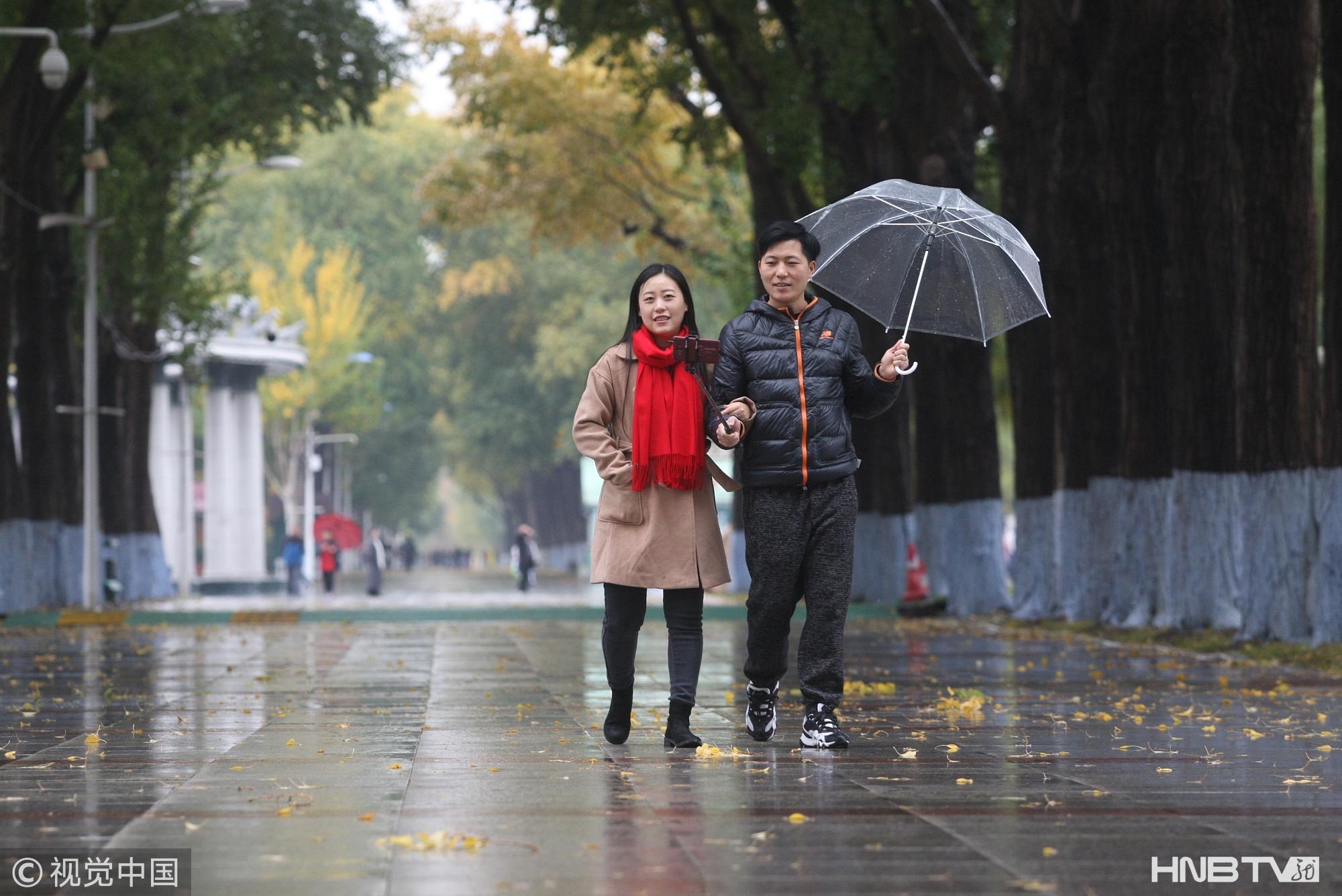 哈尔滨迎降雨 市民撑伞出行赏秋景