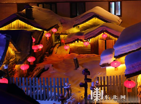 中国雪乡:大红灯笼高高挂