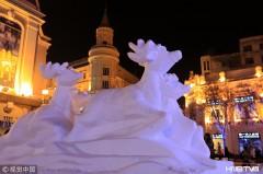 哈尔滨:彩灯、雪雕扮靓百年老街(组图)