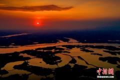 航拍湖南舂陵国家湿地公园