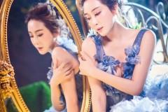 杜若溪唯美写真仙气十足 蓝色长裙优雅动人