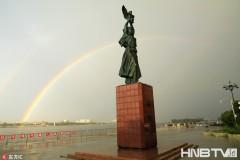 跨越中俄界江黑龙江 霸气双彩虹现黑河江畔(组图)