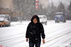 黑龙江漠河迎降雪最低气温-8℃ 游客在雪中漫步(组图)