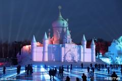 哈尔滨雪博会裸眼3D灯光秀 打造梦幻雪城堡